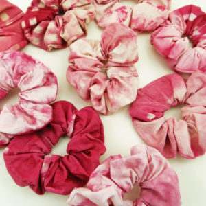 Pink Shibori Tie-Dyed Scunchies