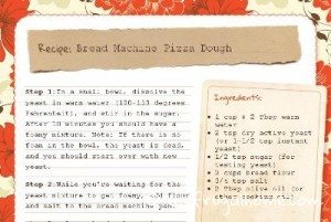 Bread Machine Pizza Dough Recipe Card