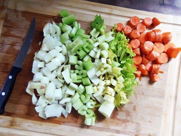 Chop Up Vegetables for Turkey Broth