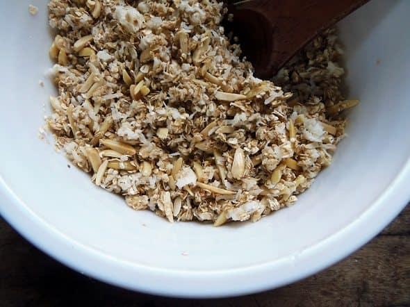 Pour Honey Mixture Over Granola Mixture