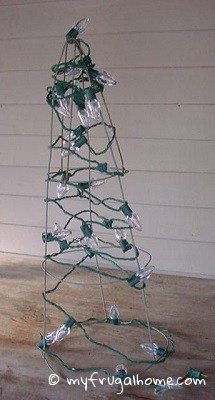 Tomato Cage Christmas Tree Wrapped in Lights