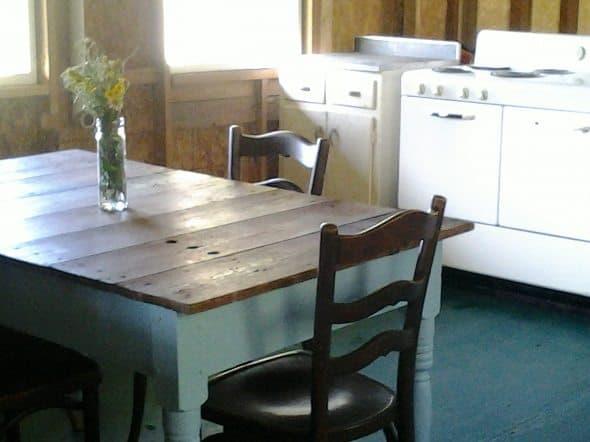 Farm Table in Cabin Kitchen