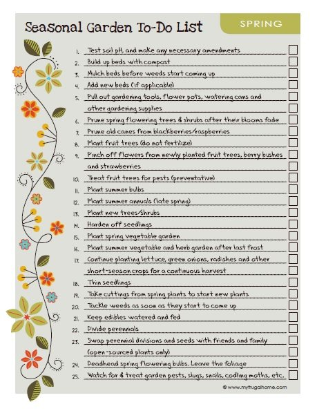 Printable spring garden to do list for Garden maintenance checklist