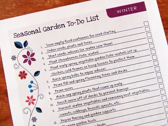 Printable Winter Garden To-Do List
