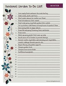 Winter Garden To Do List