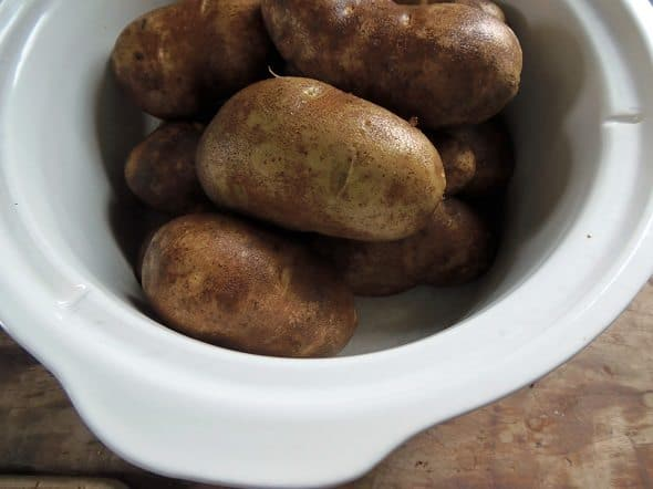 Transfer Potatoes to Crockpot