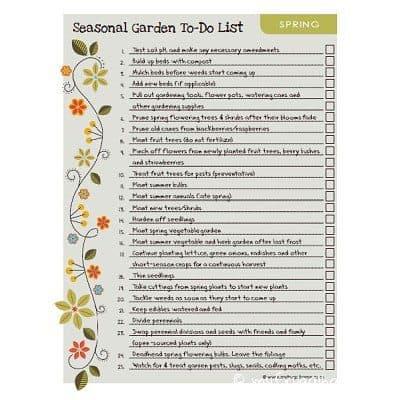 Spring Garden To Do List Index Pic