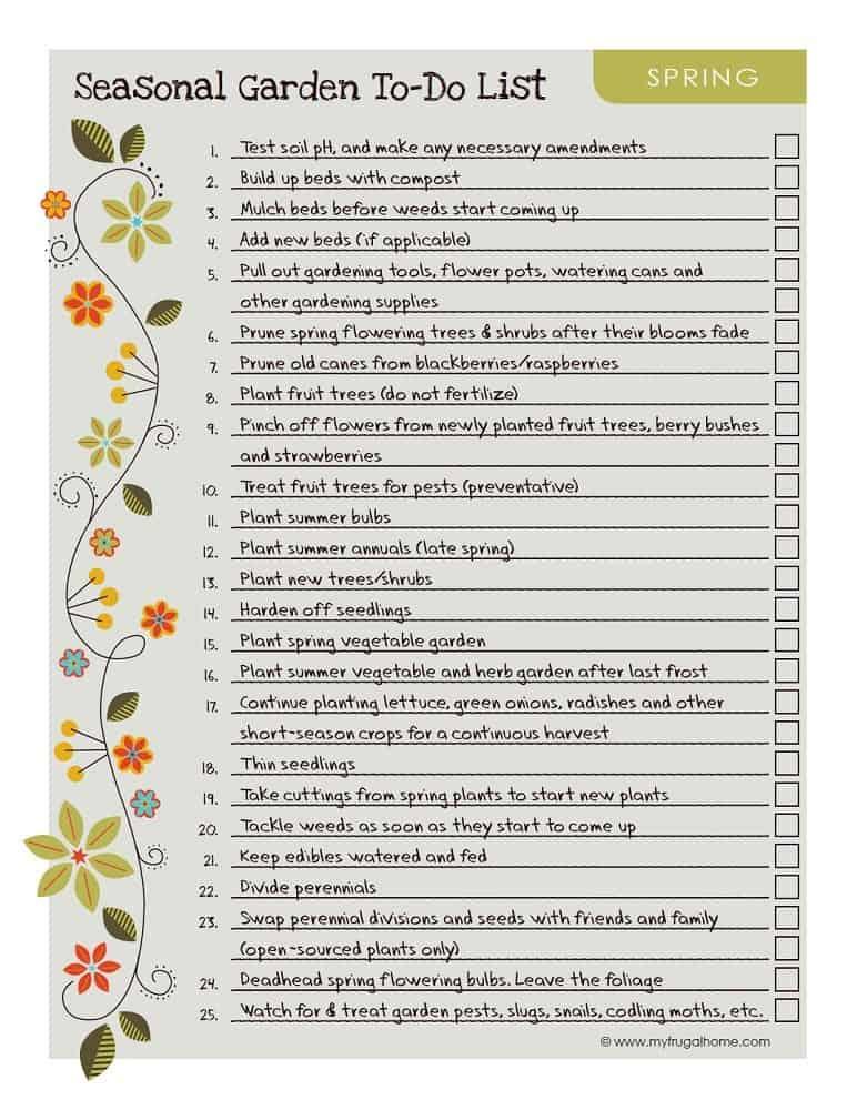 Printable Spring Garden To-Do List