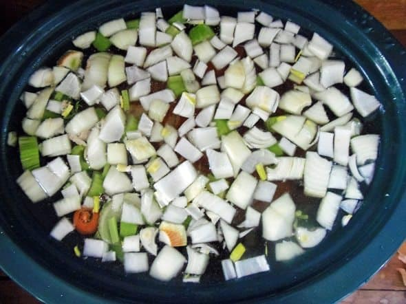 Place Ham Bone, Veggies and Spices in Crockpot