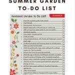 Printable Summer Garden To-Do List