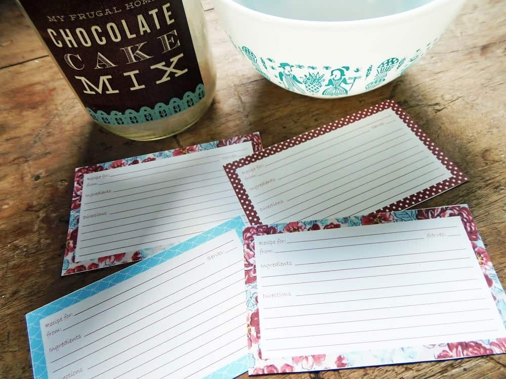 Brown Floral Recipe Cards