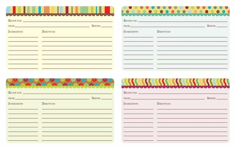 Printable Brights Recipe Cards