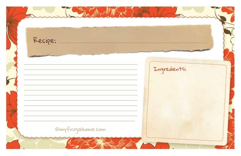 Printable Orange Floral Recipe Card