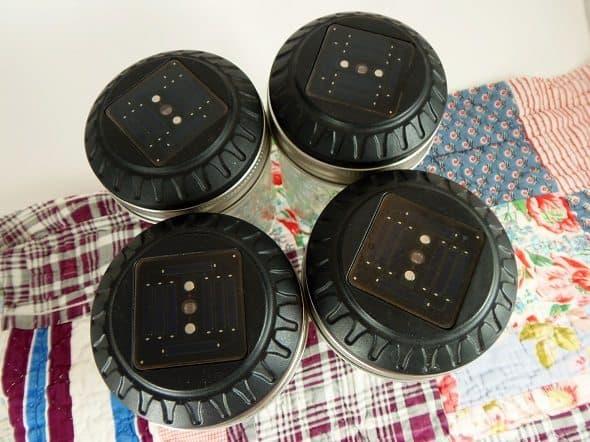 Tops of Solar Canning Jar Lanterns