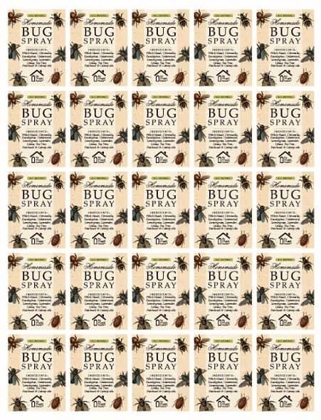 Small Printable Bug Spray Labels