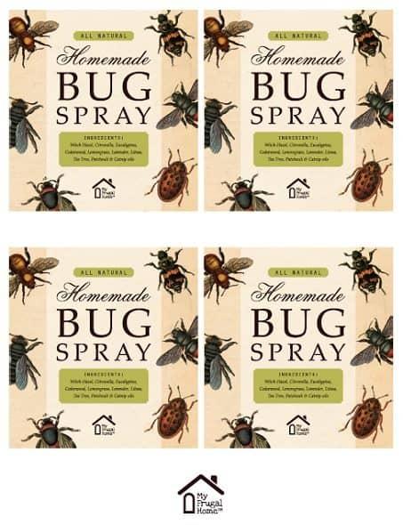 Large Printable Bug Spray Labels