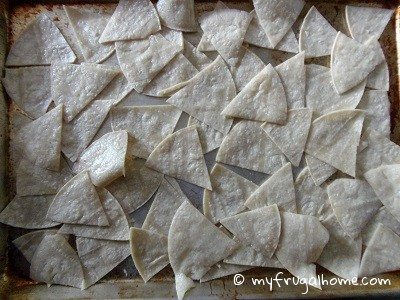 Place Tortilla Wedges on Cookie Sheet