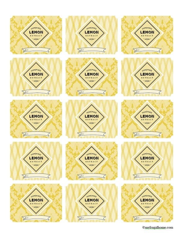 Printable Lemon Extract Labels