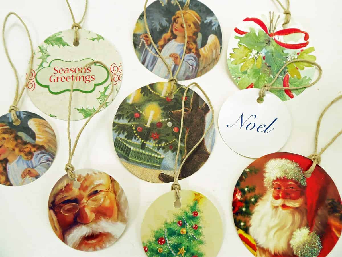Circle Gift Tags Made From Fronts of Old Christmas Cards