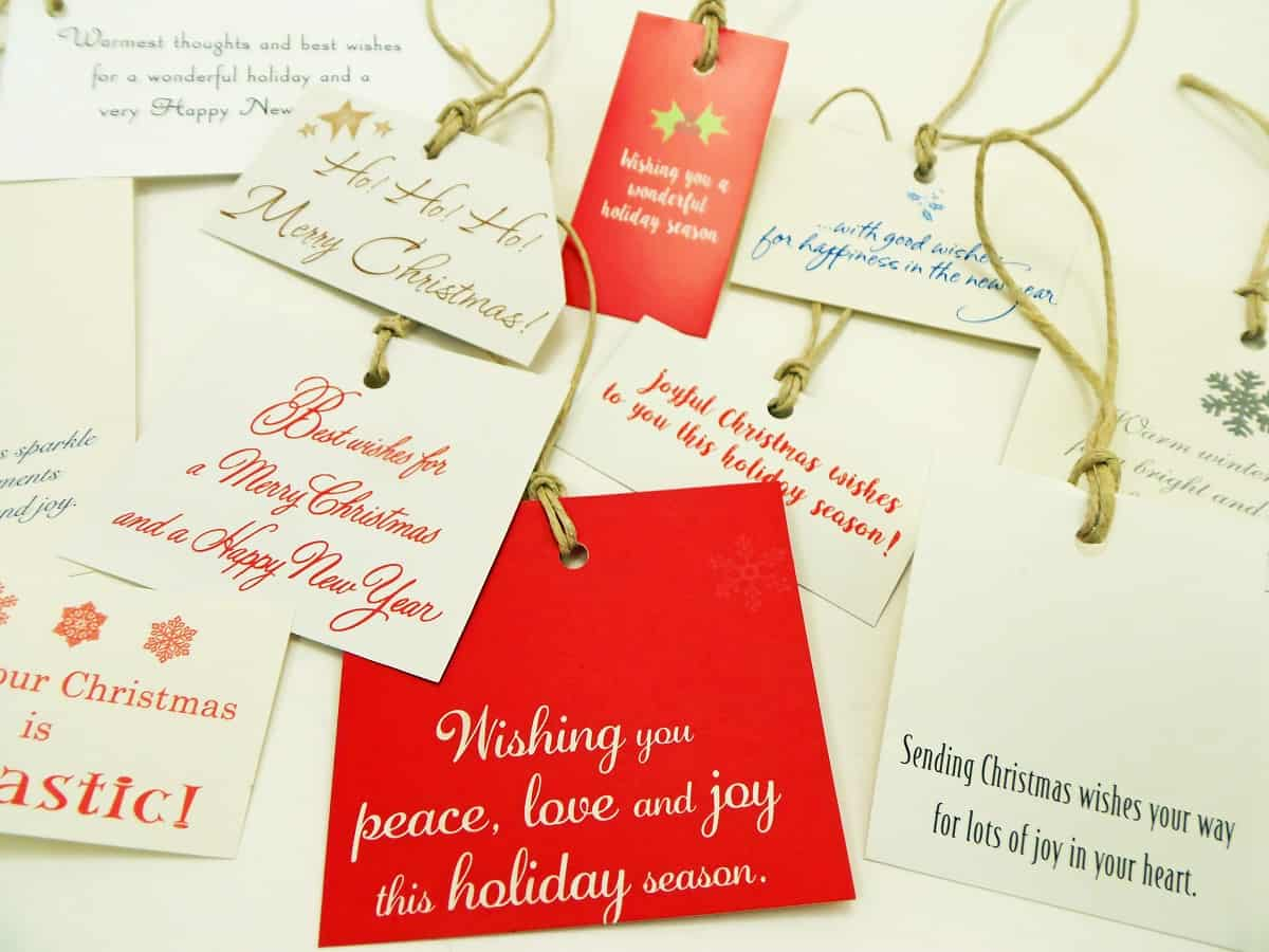 Gift Tags Made From Insides of Old Christmas Cards