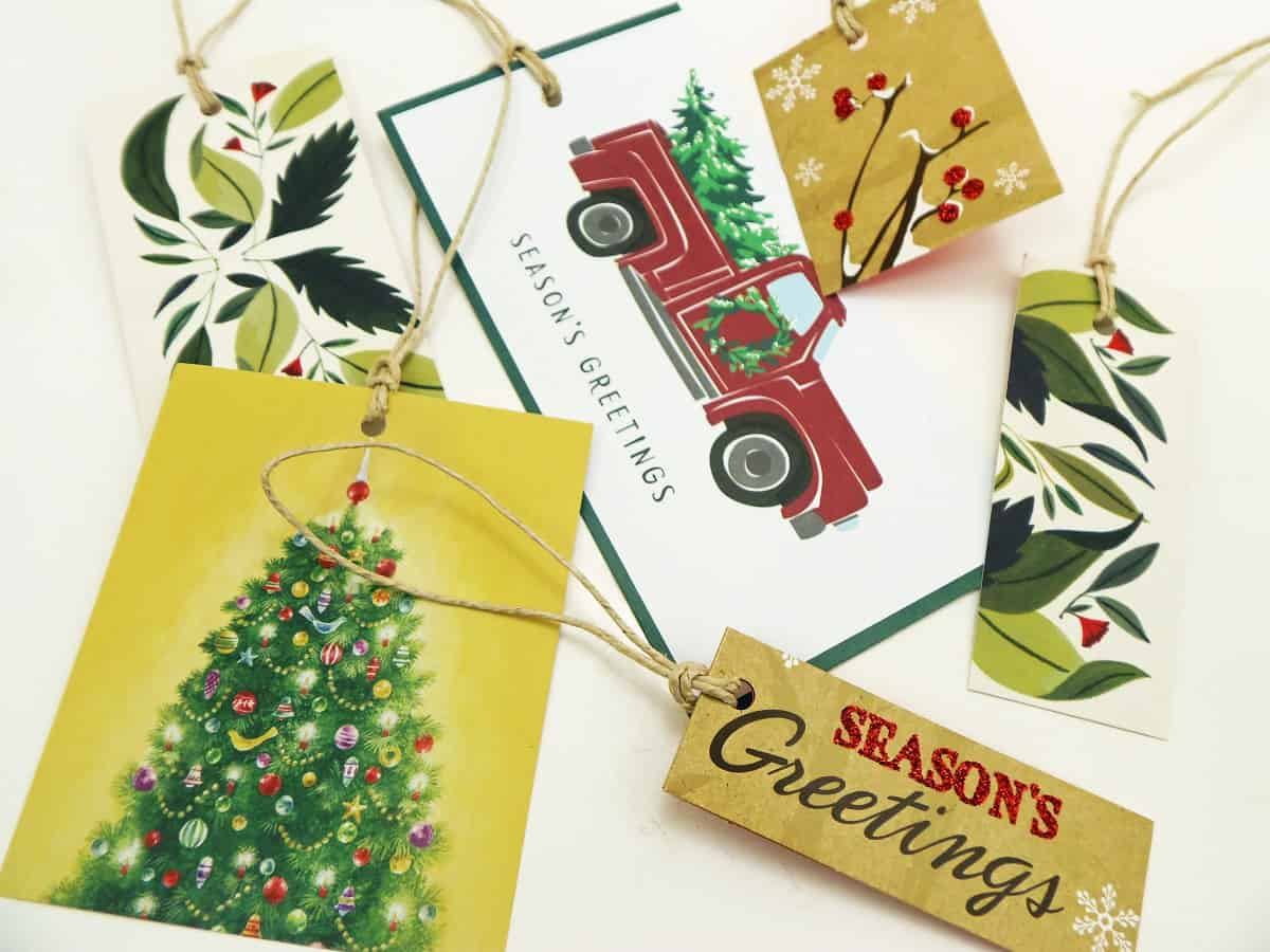 Rectangular Gift Tags Made From Old Christmas Cards