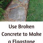 Flagstone Sidewalk Made from Broken Up Concrete