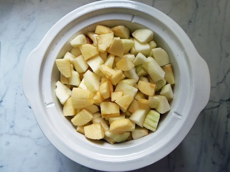 Crockpot Filled With Chopped Apples