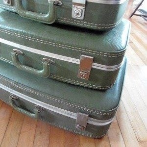 Green Vintage Suitcases