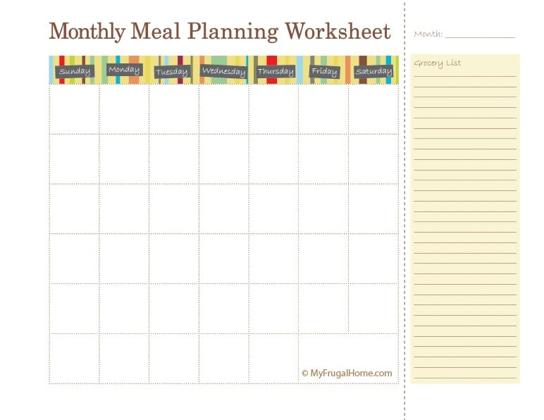 Printable Monthly Meal Planning Calendar