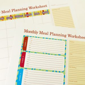 Printable Monthly Meal Planners