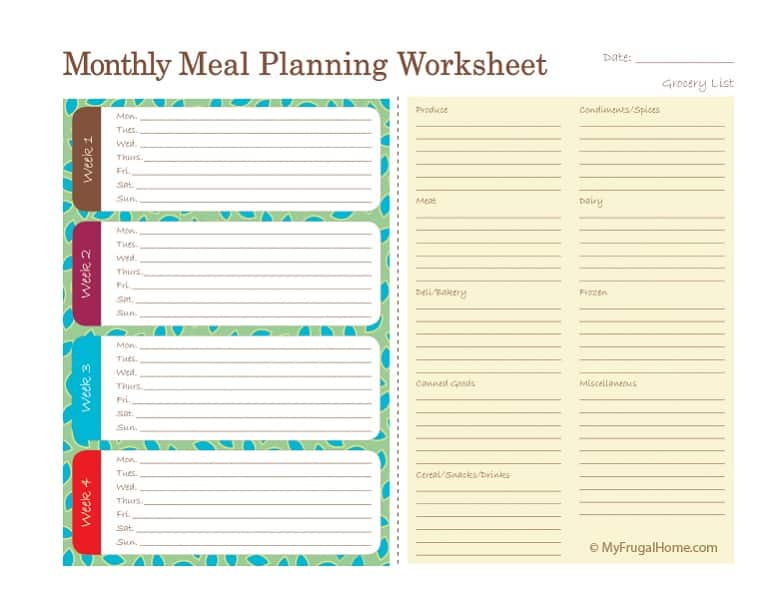 Printable Monthly Meal Planning Worksheet