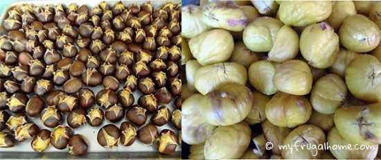 Roasted Chestnuts -- Unshelled and Shelled