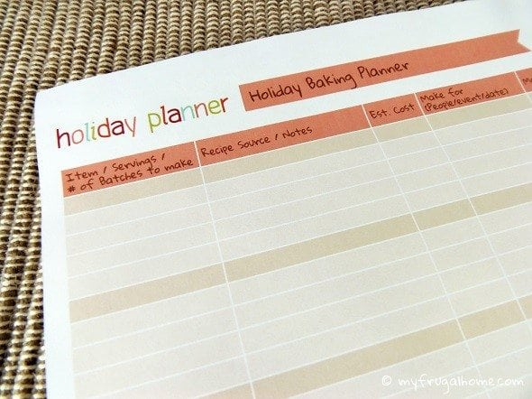 Holiday Baking Planner