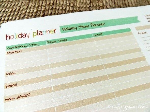 Holiday Menu Planner