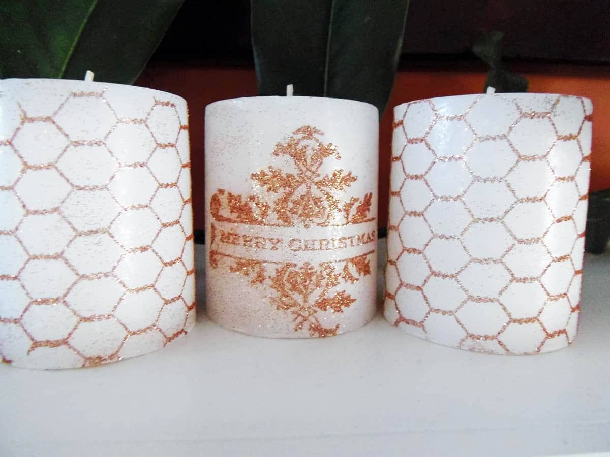 Rubber Stamped Candles