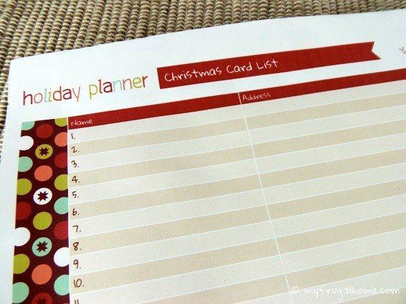 Printable Christmas Card List