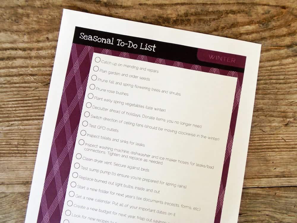 Printable Winter To-Do List
