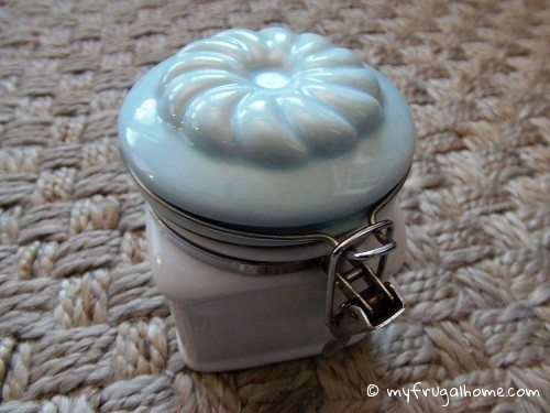 Blue and White Canister