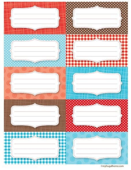 Red, Blue and Brown Canning Jar Labels - Fronts