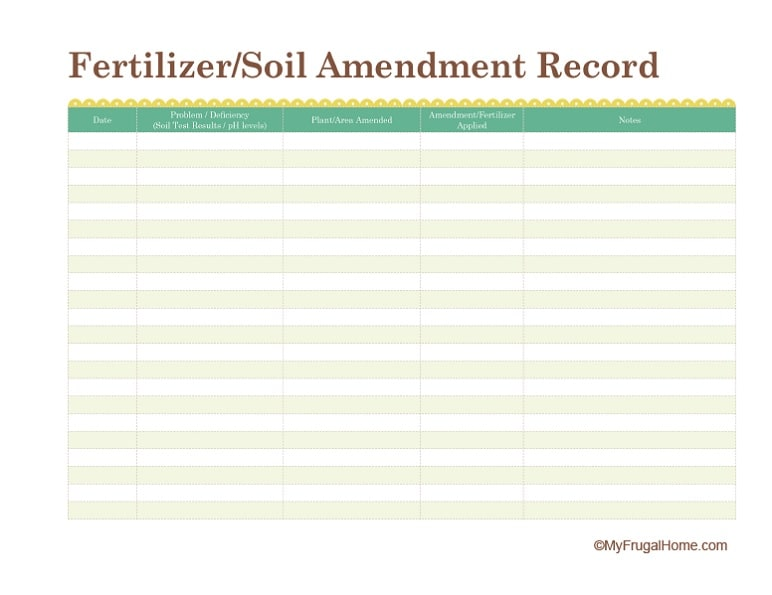 Printable Fertilizer/Soil Amendment Record