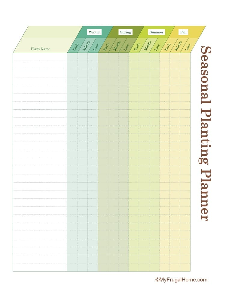 Printable Seasonal Garden Planner