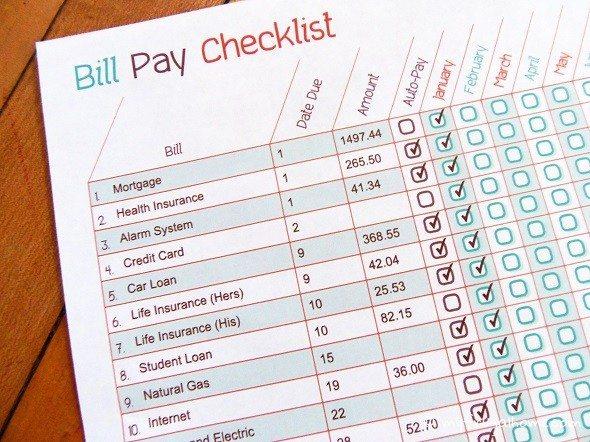 Printable Bill Pay Checklist