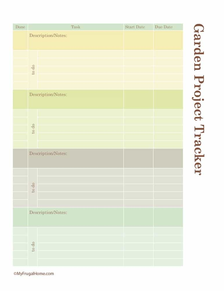 Printable Garden Project Tracker