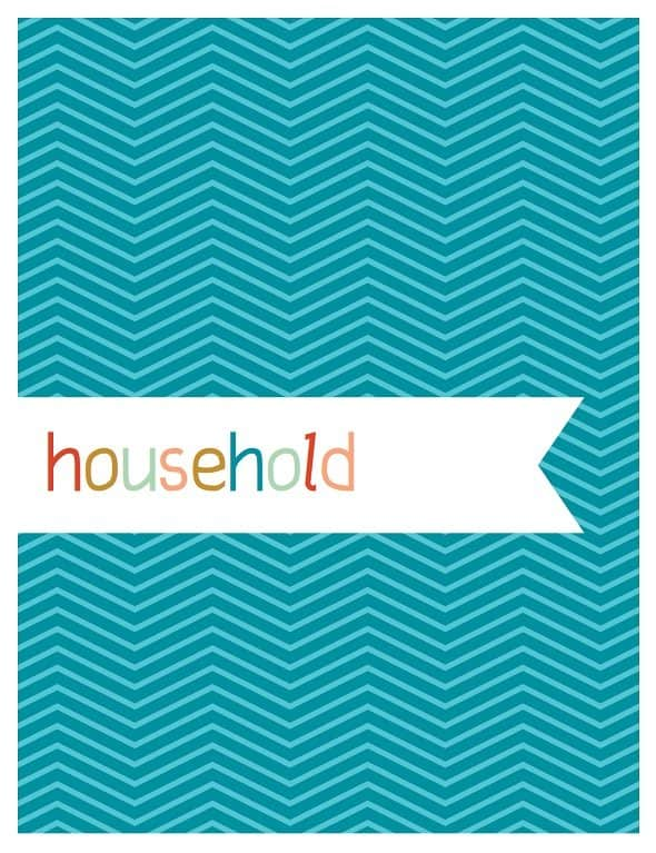 Printable Household Notebook Cover