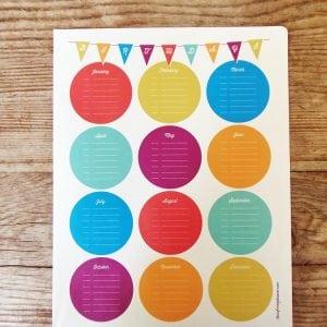 Printable Birthday Calendar