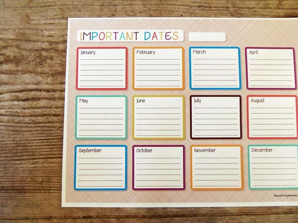 Printable Important Dates Calendar