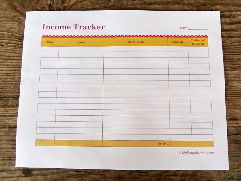 Printable Income Tracker