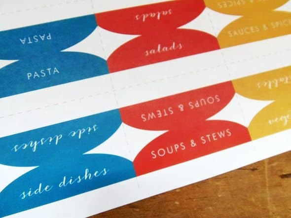 Printable Recipe Binder Tabs