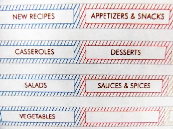 Recipe Book Tabs - Slide In