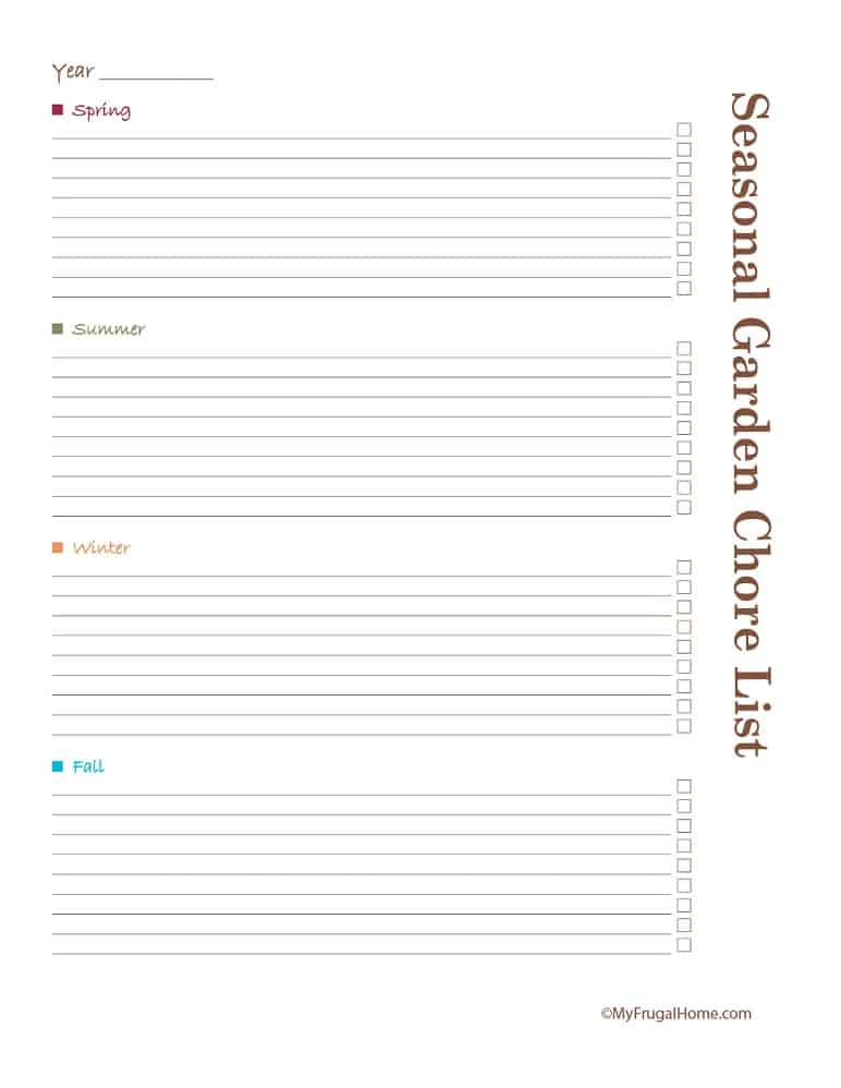 Printable Seasonal Garden Chore List